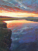Tidal River Pastels - Setting on Scorton by Ed Chesnovitch
