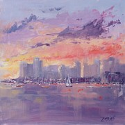 Sail Boats Posters - Setting Sun over Boston  Poster by Laura Lee Zanghetti