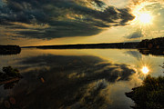 Chatham Digital Art Prints - Setting Sun Over Jordan Lake Print by Robert Saunders Jr