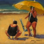 Beach Umbrella Framed Prints - Setting Up Framed Print by Laura Lee Zanghetti