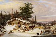 Famous Artists - Settlers Log House by Cornelius David Krieghoff
