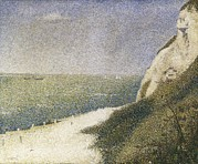 Pointillist Prints - Seurat, Georges 1859-1891. Beach At Bas Print by Everett