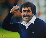 Sport Legends Framed Prints - Seve Ballesteros Oil on Canvas Framed Print by David Rives