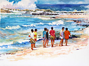 Acuarela Framed Prints - Seven  Amigos Framed Print by Estela Robles Galiano