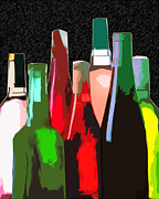 Impressionistic Wine Prints - Seven Bottles of Wine on the Wall Print by Elaine Plesser