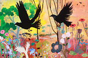Crows Paintings - Seven Circling Crows by Robin Maria  Pedrero