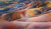 Colored Mountains Prints - Seven Colored Earth in Chamarel 4. Series Earth Bodyscapes. Mauritius Print by Jenny Rainbow