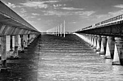 Grey Turquoise Prints - seven mile bridge BW Print by Rudy Umans