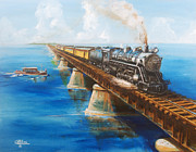 Train On Bridge Posters - Seven Mile Bridge Poster by Christopher Jenkins