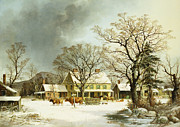 Winter Landscape Paintings - Seven Miles to Salem by George Henry Durrie