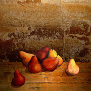 Fruit Still Life Mixed Media Posters - Seven Pears Poster by IM Spadecaller