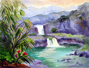 National Park Paintings - Seven Sacred Pools by Karin  Leonard