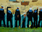 Toilet Painting Originals - Seven Sailors by Anthony Dunphy