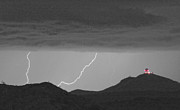 Lightning Storms Photo Prints - Seven Springs Lightning Strikes BWSC Print by James Bo Insogna