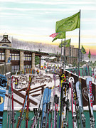 Winter Scenery Drawings Prints - Seven Springs Mountain Resort Print by Albert Puskaric