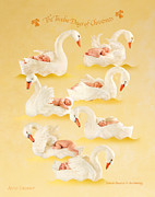 Christmas Art Framed Prints - Seven Swans-a-Swimming Framed Print by Anne Geddes
