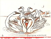 Swans... Drawings - Seven Swans A Swimming by Kippax Williams
