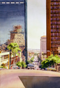 Bay Bridge Painting Prints - Seventh Avenue in San Diego Print by Mary Helmreich