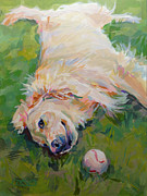 Golden Retriever Paintings - Seventh Inning Stretch by Kimberly Santini