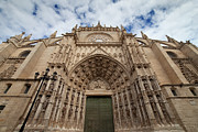 Religious Structure Framed Prints - Seville Cathedral West Facade Framed Print by Artur Bogacki