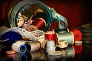 Textiles Photos - Sewing - Grandmas Mason Jar by Paul Ward