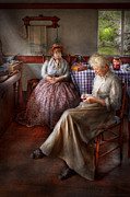 Colonial Art - Sewing - I can watch her sew for hours by Mike Savad