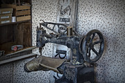 Shoe Repair Posters - Sewing Machine in a Shoe Repair Shop Poster by Randall Nyhof