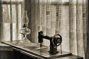 Oil Lamp Prints - Sewing Machine Print by Mike Fitton