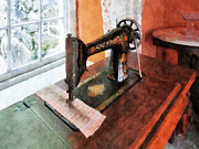 Textile Art - Sewing Machine Near Lace Curtain by Susan Savad