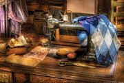 Tables Framed Prints - Sewing Machine  - Sewing Machine III Framed Print by Mike Savad