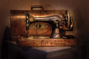 Black  Prints - Sewing Machine  - Singer  Print by Mike Savad