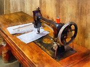 Wooden Paneling Prints - Sewing Machine With Orange Thread Print by Susan Savad