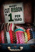 Sewing Room Prints - Sewing - Ribbon by the yard Print by Mike Savad