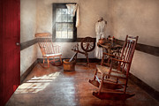 Rocking Chairs Posters - Sewing - Room - Grandmas sewing room Poster by Mike Savad