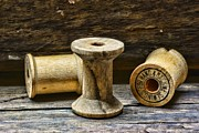 Quilt Art Photos - Sewing Vintage Wood Spools by Paul Ward