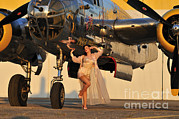 B-25 Bomber Posters - Sexy 1940s Pin-up Girl In Lingerie Poster by Christian Kieffer