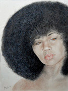 African American Art - Sexy Aevin Dugas Holder of the Guinness Book of World Records for the Largest Afro by Jim Fitzpatrick