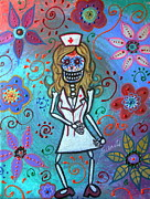 Pristine Cartera Turkus Prints - Sexy Blond Nurse Day Of The Dead Print by Pristine Cartera Turkus