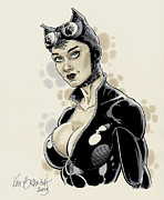 Cat Woman Prints - Sexy Cat Woman Shreds Cover Print by Ken Branch