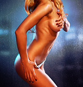 Suntanned Posters - Sexy half naked woman standing in front of wet window Poster by Oleksiy Maksymenko
