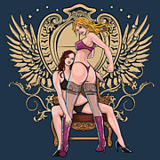 Coat Of Arms Digital Art - Sexy Lingerie Models by Mark Han