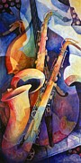 Contemporary Art Painting Metal Prints - Sexy Sax Metal Print by Susanne Clark