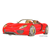 Wheels Drawings Posters - Sexy Spyder Porsche 918 Poster by Jack Pumphrey