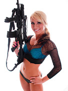 Female Spy Framed Prints - Sexy Woman Holding an AR15 Framed Print by Jt PhotoDesign