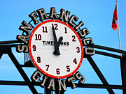 Taponphoto Posters - SF Giants Baseball Time Sign Poster by Marcia Fontes Photography