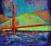 Golden Rain Posters - SF Golden Gate Bridge Poster by Johane Amirault