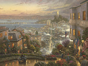 Lights Painting Posters - SF Lombard Street Poster by Thomas Kinkade