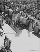 Soup Drawings Framed Prints - SF U.S.A 1906 Earthquake Soup Line Framed Print by Pierre Salsiccia
