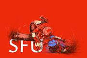American Football Painting Metal Prints - SFU Art Metal Print by Catf