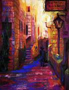 Night Lamp Painting Posters - Shabbat Shalom Poster by Talya Johnson